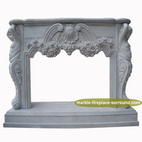 exquisite hand carved marble women statue flower sculpture french fireplace mantel