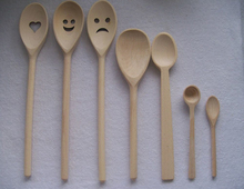 Unfinished laser-cut beech wood spoon for sale with long hand