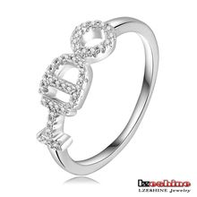 I DO Letter Wedding Promise Ring Mirco Paved AAA Cubic Zircon Customize Ring CRI0167-B