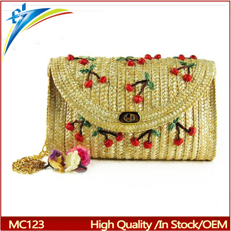 2017 Summer New Cherry Banana Straw Messenger Bags Woven Day Clutch Flap Bag Beach Package Crossbody Chain Bags