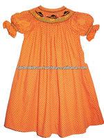 Baby Girl Orange Polka Dot Smocked Pumpkin Bishop Dress