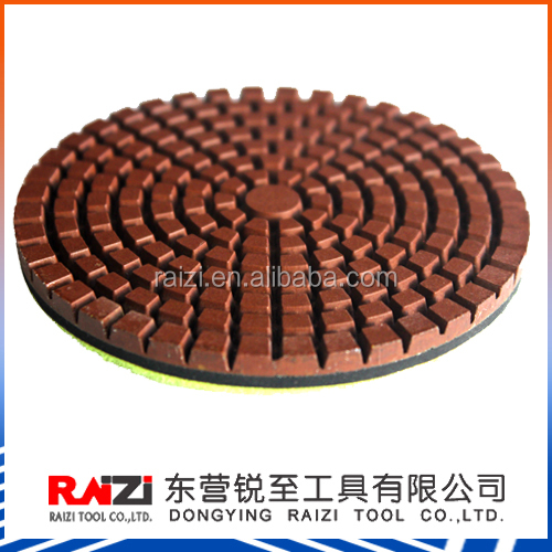 3 Inch Hook and Loop Conwet Copper Diamond Bond Wet Polishing Pads for Concrete Floor