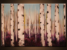 Handmade Home Decor Beautiful Landscape Birch Forest Knife Oil Painting