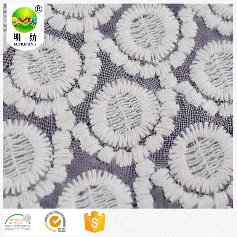 free sample 100 polyester fanned chemical embroidery lace fabric for girl clothes