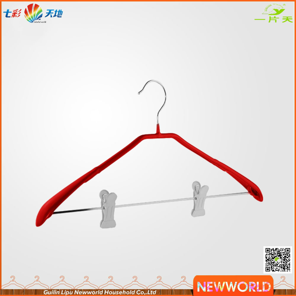 Newworld Wide Shoulder PVC Drying Clothes Hanger With clips