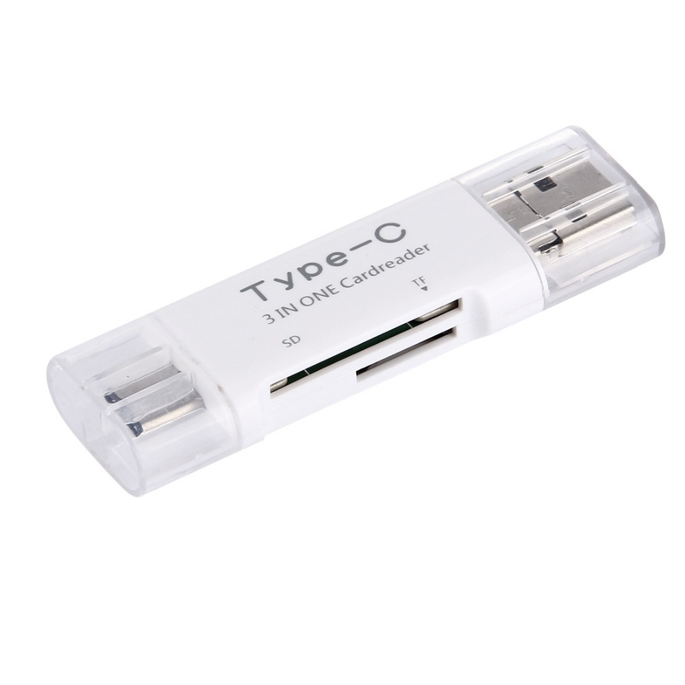 3 in 1 USB 3.1 Type-C to USB 2.0 + USB + (HC) + Card Reader Adapter for Macbook / Google Chromebook / Nokia N1