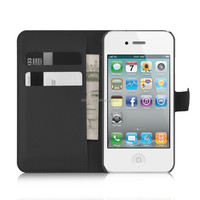 Flip Magnetic Wallet PU Leather Credit Card Slot Case Cover For Apple iPhone 4S