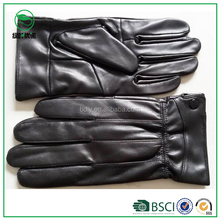 Wholesale men's cheap patent leather working gloves with wool lining