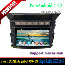 Android quad core in dash dvd player for Pilot with GPS BT tv wifi 3G/4G SWC mirror link 2 years warranty