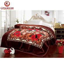 Hot sale dubai classic design adults 100% polyester thick blanket
