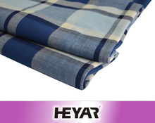 100 Cotton Yarn Dyed Indigo Blue Dyeing Twill Checked/Plaid Woven Fabric for Women Garment