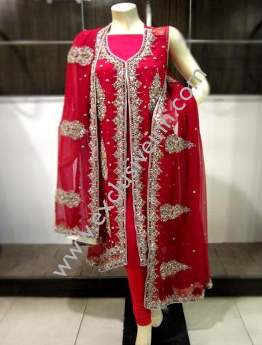 Red and Silver Bridal Dress