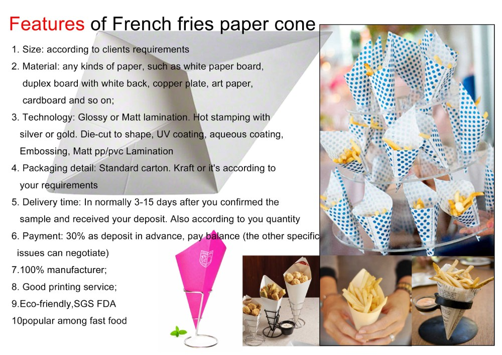 Cone Shaped Packaging paper cone or box for french fry
