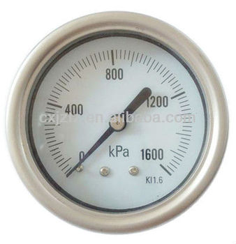 "YB63ZB-1600kpa 63mm(2.5"") all stainless pressure gauge,bayonet bezel ,back connection"