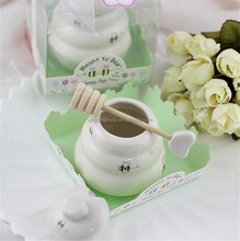 Wedding favors and gifts for guest Ceramic Honey Pot with Wooden Dipper ,party favors
