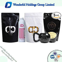 Custom printed stand up pouch coffee black plastic bags
