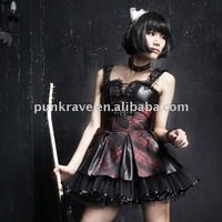 Punk Rave Hot Sale Q-162 Girls Sexy Punk Smooth Grid Suspender Skirt