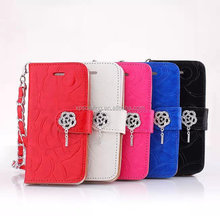 Diamond wallet leather case for iphone 5, Stand leather case pouch for iphone 5
