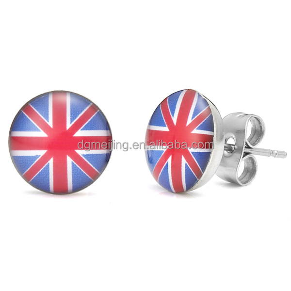 High quality fashion UK stainless steel enamel flag earrings