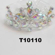 Yiwu factory supplier cheap AB crystal flower girl tiaras
