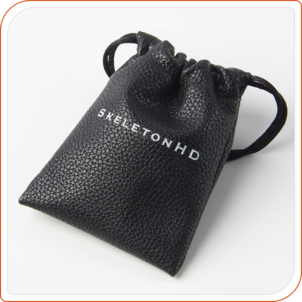 Mini black small pu leather drawstring pouch for jewelry