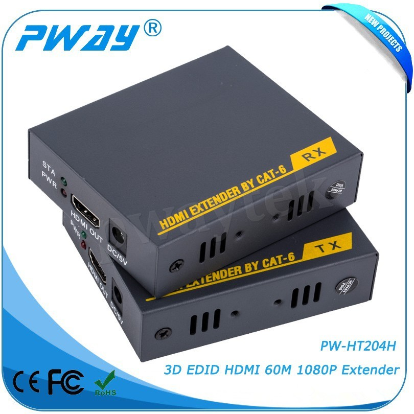 Pinwei PW-HT204H HDMI Extender to 60m Over Single UTP Cat5e/6 LAN RJ45 Support 1080P 3D