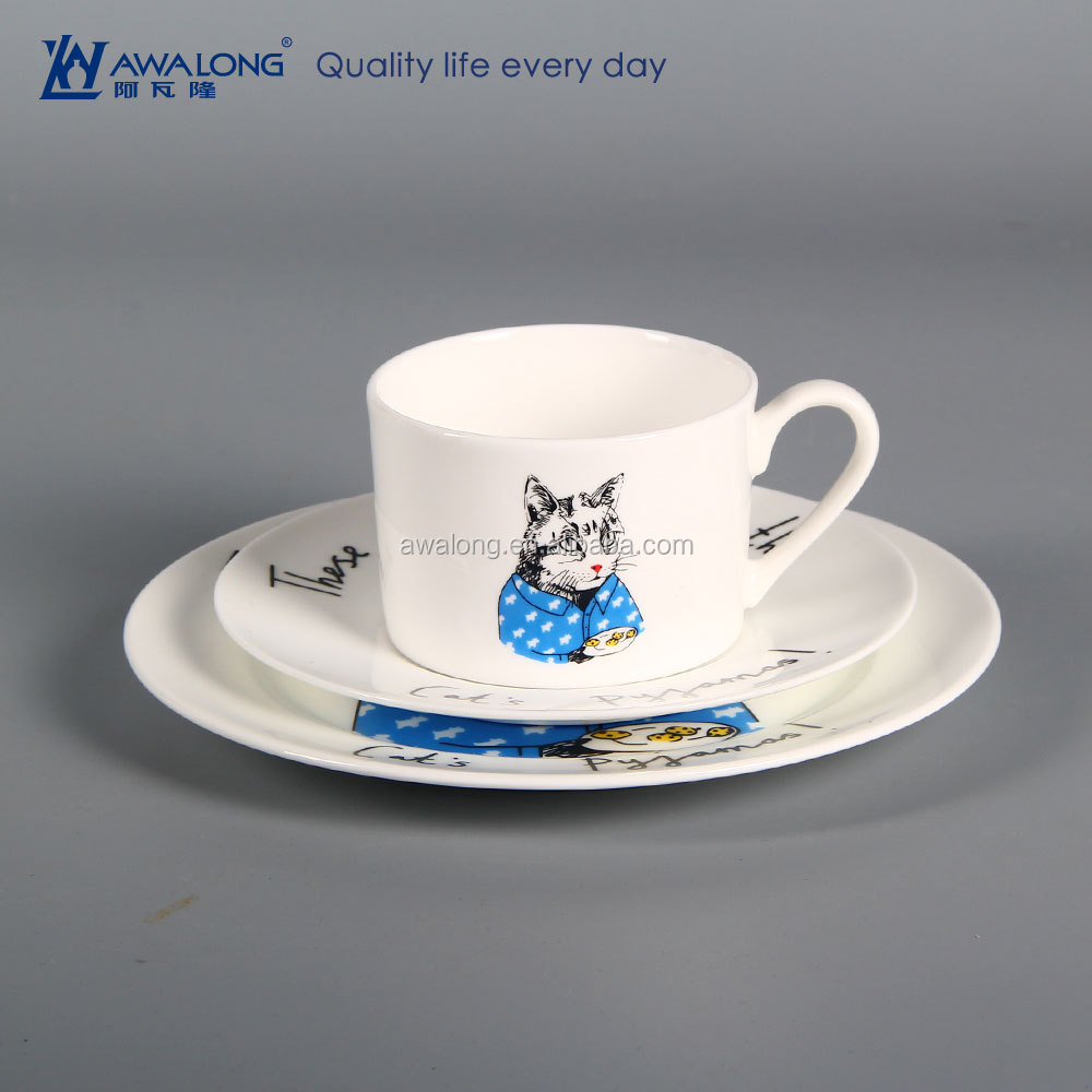 high quality healthy fine porcelain breakfast plate and coffee cup set with Mr cat drawing for young people