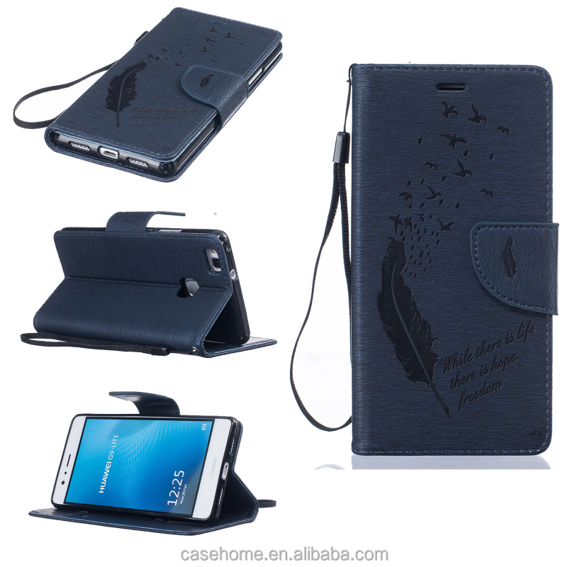 For Huawei P9 lite embossed feather PU leather flip wallet case for Huawei G4 plus K10