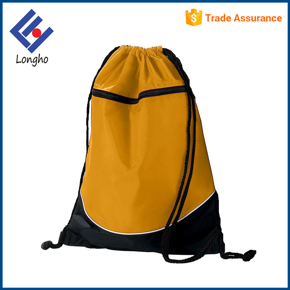 Hot selling stylish gym sack sport backpack front zipper pocket practical drawstring storage bag for soccer basketball