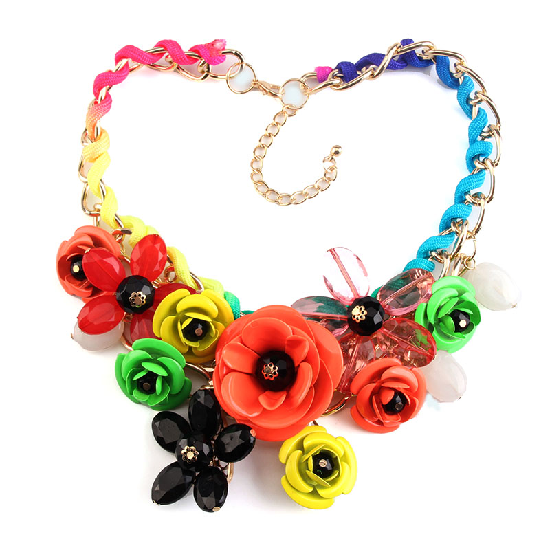 24colors 2016 New Arrival Fashion colorful Metal za Vintage Collar Statement flower Necklace Jewelry F1624