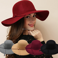Wholesale Fashion Ladies Women Wide Brim Floppy Wool Felt Hat