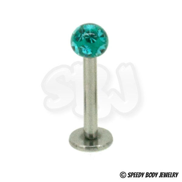 Disco multi jewelled labret stud
