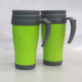Small quantity double wall plastic mug with lid & handle