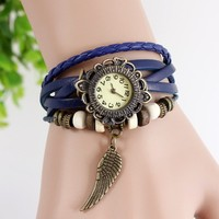 2014 High Quality Women's Lady Leather Vintage Style Jewelry Bracelet Gifts Quartz Wrist Watches Wing/Butterfly Pendant