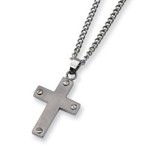 "Brushed Titanium Cross 1.3"" x 0.75""on 22"" Steel Curb Chain pendant"