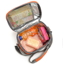 Lunch cooler bags with strap bottle holder