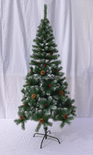 Cheap snowing christmas tree , with pine cone , red berries decoration