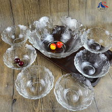 7pcs Sun Flower Pressed Glass Salad Bowl Set