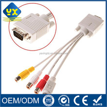 S-video VGA HDB 15P Male to 3 RCA Female MDIN cable