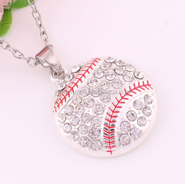 Basketball Baseball Softball Pendant Necklace Alloy Rhinestone Crystal Round Collier Femme Sports Jewelry for Women Gift