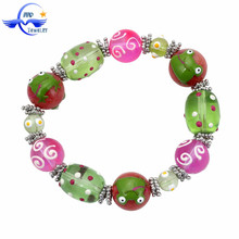 Frog Animal Handpainted Glass Beads Friendship Bracelets Wholesale Stretch Beaded Bracelet
