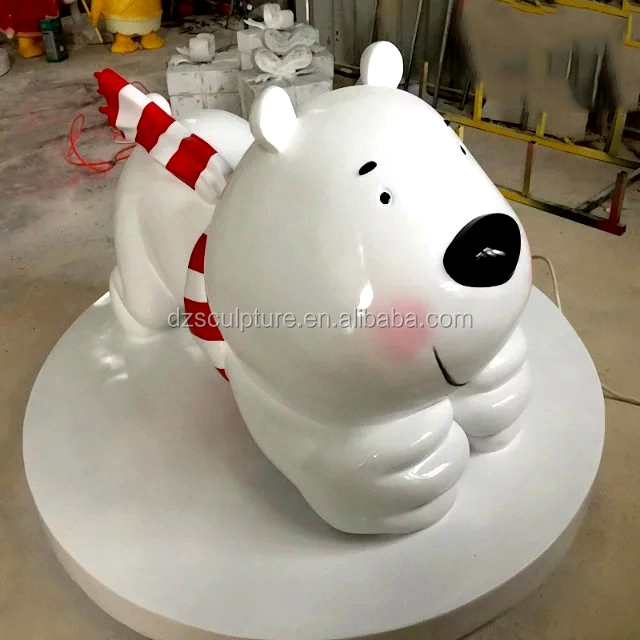 High quality naughty white fiberglass cartoon bear statue