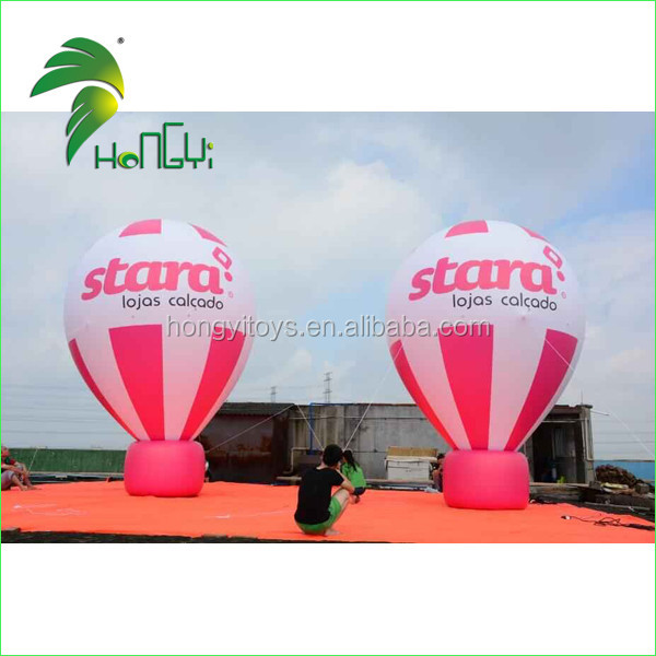 Giant Outdoor Decoration Waterproof PVC Ground Balloon / Large Display Inflatable Cold Air Balloon With Flag