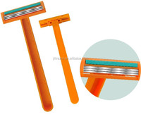 Triple blades disposable razor for shaving
