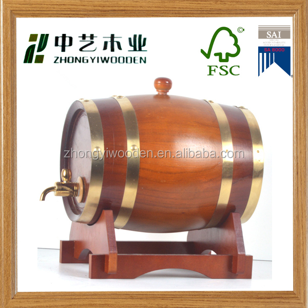 wholesale FSC&SA8000&BSCI christmas gift wooden beer wine whiskey rack barrel bucket in drums,pails&barrels