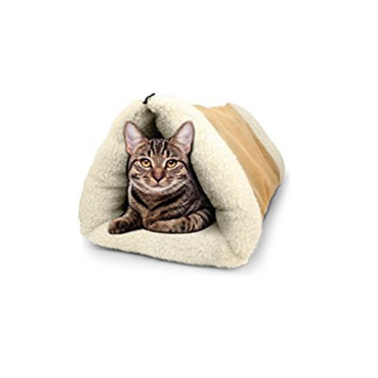 2 in 1 Tube Cat Mat and Bed, Pet Cat Tunnel Fleece Indoor Cushion Mat Pyramid Pad