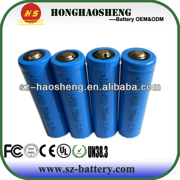 Rechargeable 3.7v icr 750mah 14500 li ion battery