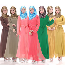Malaysia Muslim Women sexy Turkish Islamic Clothing Chiffon Dresses Black