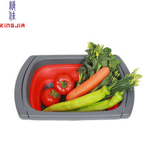 folding silicone food strainer collapsible kitchen colander with handle