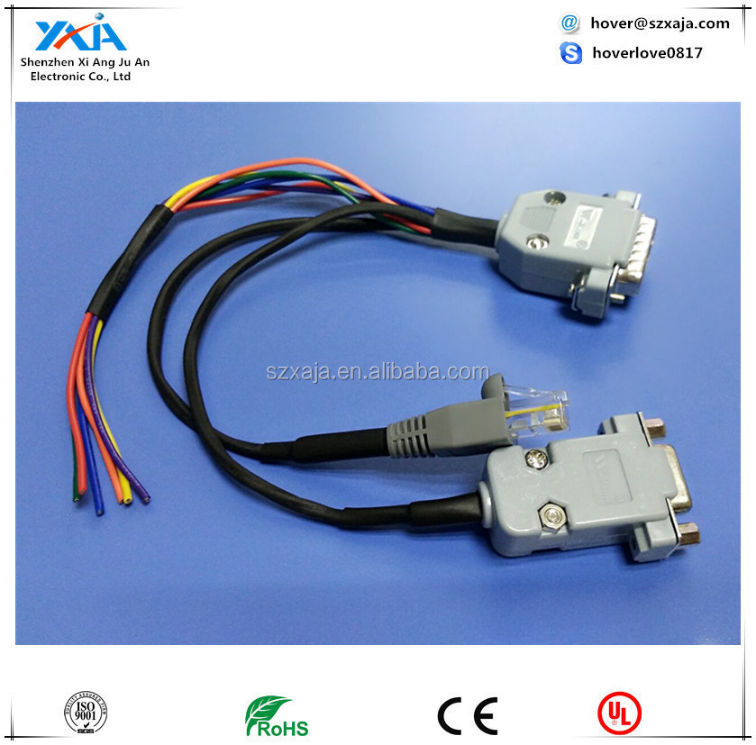 DB15 Male to DB9 Female RJ45 connector wire harness cable assembly